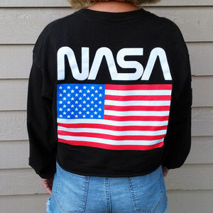 NASA black cropped graphic sweatshirt L